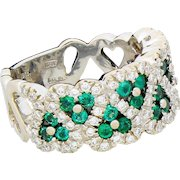 Vintage Craig Drake Heart 18K White Gold Diamond & Emerald Eternity Band Ring Size 7