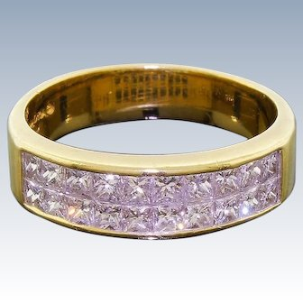 Vintage 18k Gold Signed QUADRA Princess Cut Square Diamond Ring 1.10 CTW Sz 6.75