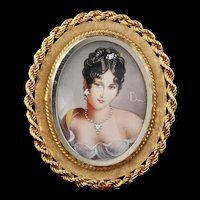 Antique 18K Yellow Gold Hand Painted Woman Pendant/Brooch