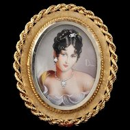 Vintage 18K Yellow Gold Hand Painted Woman Pendant/Brooch