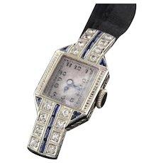 Art Deco 18K White Gold Sapphire & Diamond Evening Watch