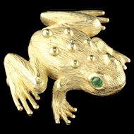 Vintage Estate 18K Yellow & Gold Emerald Frog Brooch