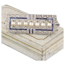 Art Deco 18K White Gold Diamond and Pearl Brooch