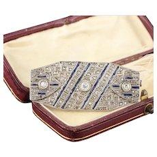 Vintage Estate Silver Diamond & Sapphire Brooch