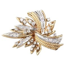 Vintage Estate 14K Yellow & White Gold Diamond Brooch