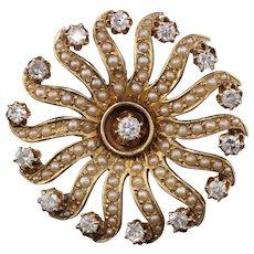 Vintage Estate 14K Yellow Gold Diamond & Seed Pearl Brooch