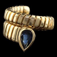 Vintage Estate 18K Yellow Gold & Sapphire Snake Ring