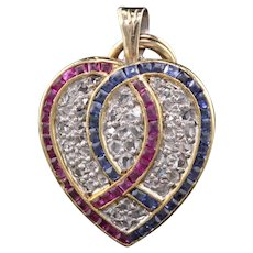 Antique Victorian 18K Yellow Gold Platinum Ruby Sapphire Diamond Heart Locket