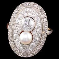 Antique Victorian 14K Yellow Gold and Platinum Diamond and Pearl Ring