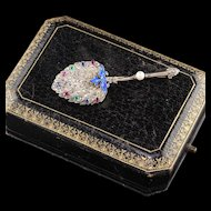 Antique Victorian French 18K Yellow Gold Silver Top Diamond Feather Pin