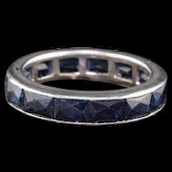 Vintage Art Deco Platinum & French Cut Sapphire Eternity Band - Size 5.25