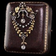 Antique Victorian 18K Yellow Gold Diamond Convertible Brooch/Pendant