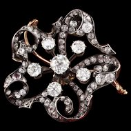Victorian 18K Yellow Gold Silver Top Flower Brooch with Old Cut Diamonds