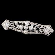 Antique Edwardian Platinum & Diamond Bar Brooch