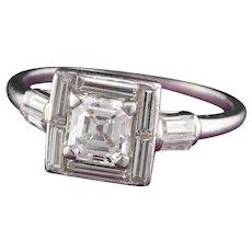 Art Deco Platinum Asscher Cut Diamond Engagement Ring