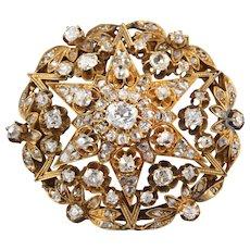 Antique Victorian 18K Yellow Gold & Old Cut Diamond Brooch