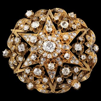 Antique Victorian 18K Yellow Gold & Old Cut Diamond Brooch