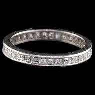 Vintage Art Deco Platinum Carre Cut Diamond Eternity Band - Size 5.25