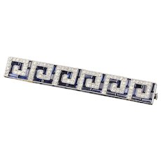 Art Deco French Platinum, Diamond & Sapphire Bar Brooch