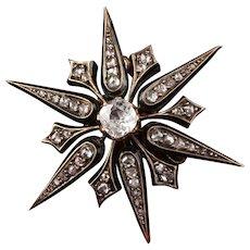 Antique Victorian 18K Yellow Gold & Diamond Star Brooch