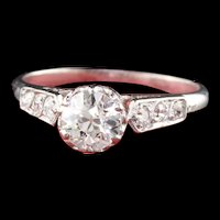 Antique Edwardian Platinum Old European Cut Diamond Engagement Ring
