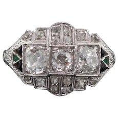 Art Deco Platinum, Diamond, Onyx & Emerald Three Stone Engagement Ring