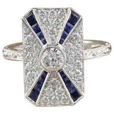 Art Deco Inspired 18K White Gold Sapphire & Diamond Ring