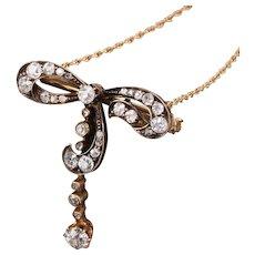 Antique Victorian 14K Yellow Gold Diamond Bow Convertible Pendant & Pin