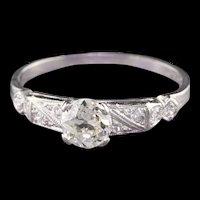 Antique Art Deco Platinum Diamond Engagement Ring with 0.51 ct center