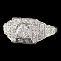 Antique Art Deco Platinum & Diamond Engagement Ring