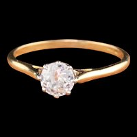 Antique Edwardian 18K Yellow Gold Platinum Top Solitaire Diamond Engagement Ring