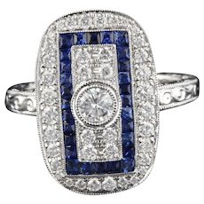 Art Deco Inspired 18K White Gold Sapphire & Diamond Ring
