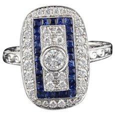 Modern 18K White Gold Sapphire & Diamond Ring
