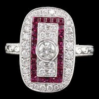 Art Deco Style 18K White Gold Ruby & Diamond Ring