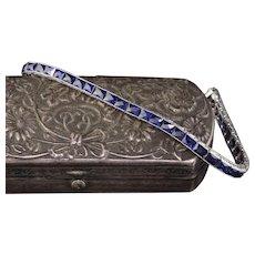 Art Deco Platinum French Cut Synthetic Sapphire Tennis Bracelet