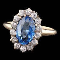 Antique Victorian 14K Yellow Gold Blue Spinel & Diamond Cluster Ring