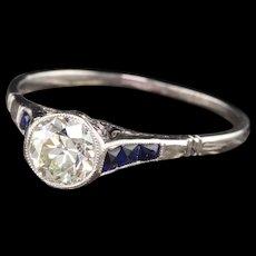 Art Deco Platinum Diamond & Sapphire Engagement Ring