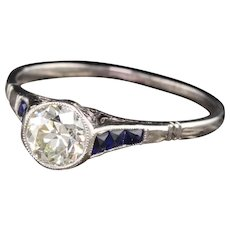 Art Deco Platinum Diamond & Sapphire Engagement Ring