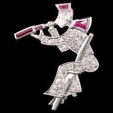 Art Deco Platinum Diamond & Ruby Explorer Pin