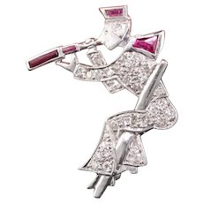 Art Deco Platinum Diamond & Ruby Explorer Pin