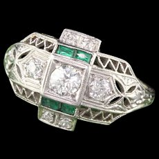 Art Deco 18K White Gold, Platinum Diamond & Emerald Engagement Ring