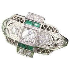Art Deco 18K White Gold, Platinum Diamond & Emerald Engagement Ring