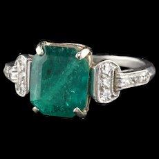 Art Deco Platinum Emerald & Diamond Cocktail Ring