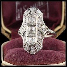 Art Deco 18K White Gold & Diamond Shield Ring