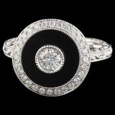 Modern 18K White Gold Onyx & Diamond Ring
