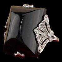 Antique Art Deco 18K White Gold, Diamond & Onyx Cocktail Ring