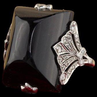 Art Deco 18K White Gold, Diamond & Onyx Cocktail Ring