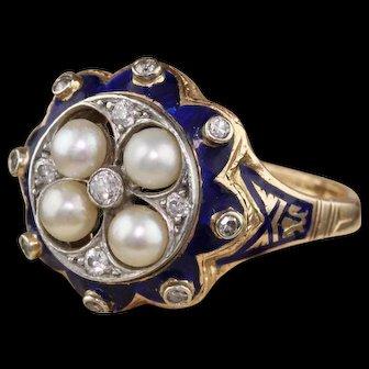Antique Victorian 14K Yellow Gold, Diamond, Blue Enamel & Pearl Ring