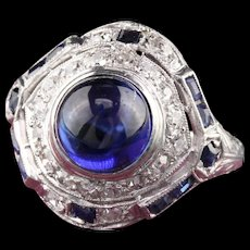 Art Deco Platinum Diamond & Cabochon Sapphire Cocktail Ring