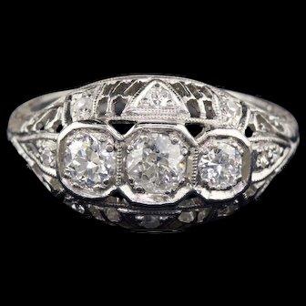 Antique Edwardian Platinum & Diamond Filigree Three-Stone Engagement Ring
